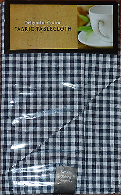 Blue/Black & White Plaid Christmas Tablecloth~Country~Primitive~52/70~Cotton~NEW ()