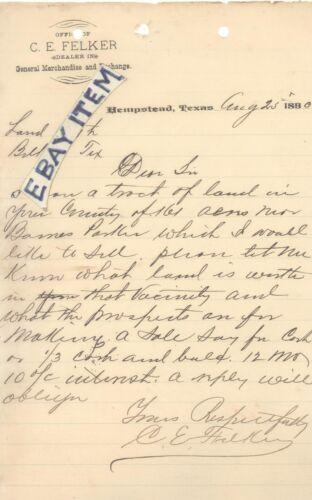 1890 LETTERHEAD Hempstead Texas C. E. FELKER general merchandise WRITTEN SIGNED
