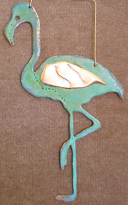 FLAMINGO Copper Verdigris Christmas Ornament Handcrafted AZ Southwest Beach Zoo](Flamingo Ornaments)