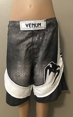 Venum MMA Fight Training Shorts Men's Size 38 Waist White Black & Gray
