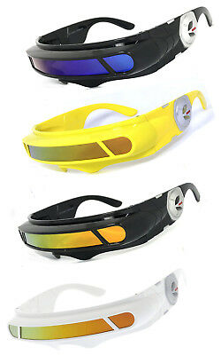 SPACE ALIEN COSTUME CYCLOPS FUTURISTIC ROBOT SHIELD POLARIZED LENS SUNGLASSES (Cyclops Shades)
