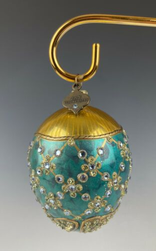 Jay Strongwater Egg Ornament Swarovski Crystals Blue & Gold Mint