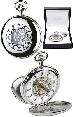 Jean Pierre Twin Lid Skeleton Pocket Watch Chrome Plated Free Engraving (g255cm)