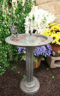 Aluminum Whimsical Fishing Frog by Water Lily Bird Bath Sundial Garden Statue