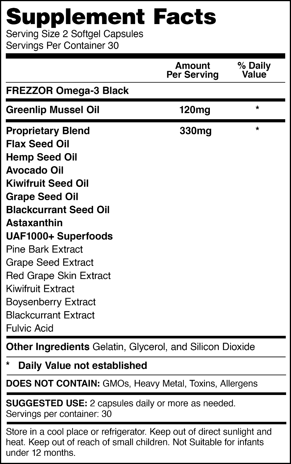 FREZZOR OMEGA-3 BLACK, New Zealand Green Lipped Mussel Oil Concentrate, 60 Caps 1