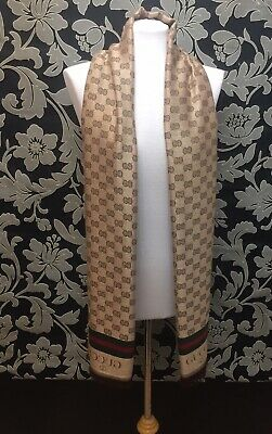 Vintage Gucci Unisex Men Woman Shawl Gold Brown Beige Scarf & Logos