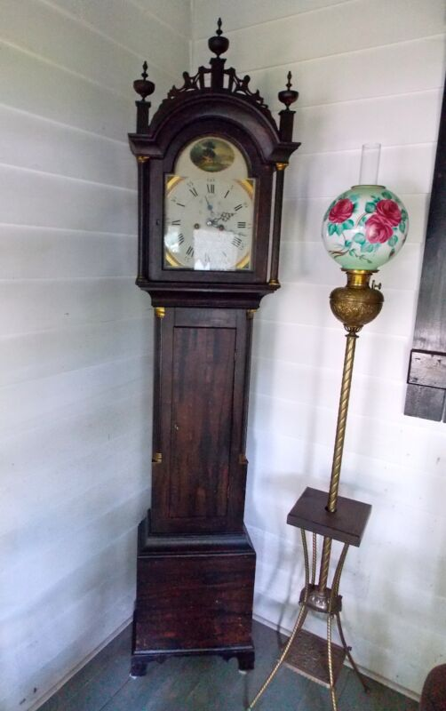 MAINE GRAIN-PAINTED TALL CASE CLOCK WITH 8 DAY MOVEMENT