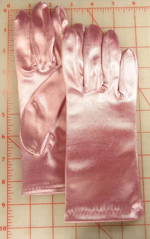 1 Pair Wedding Prom Garden Work Stretch Satin Gloves Rose Pink