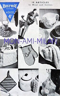 (Knitting/Crochet Pattern SHOPPING BAG,GOLF CLUB COVERS,COAL MITT,CLOTHS,10 ITEMS)
