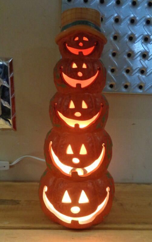 Fall Ceramic Stacked  5 Pumpkin Jack O Lanterns Halloween Luminary Light w/ Box