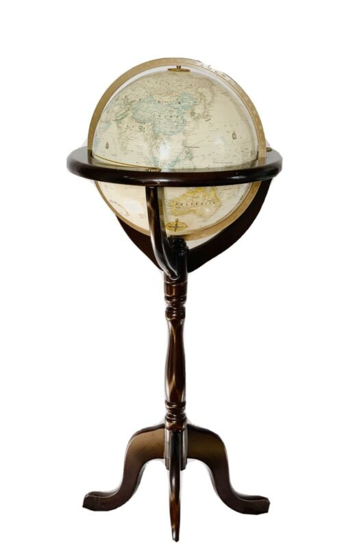 "Bombay Company - Floor World Globe Wood Stand - Replogle 12"" Classic Series 1993"