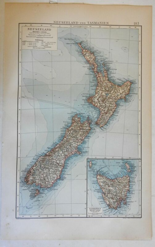 New Zealand Tasmania Oceanian Pacifica 1898-9 Andrees lithographed map