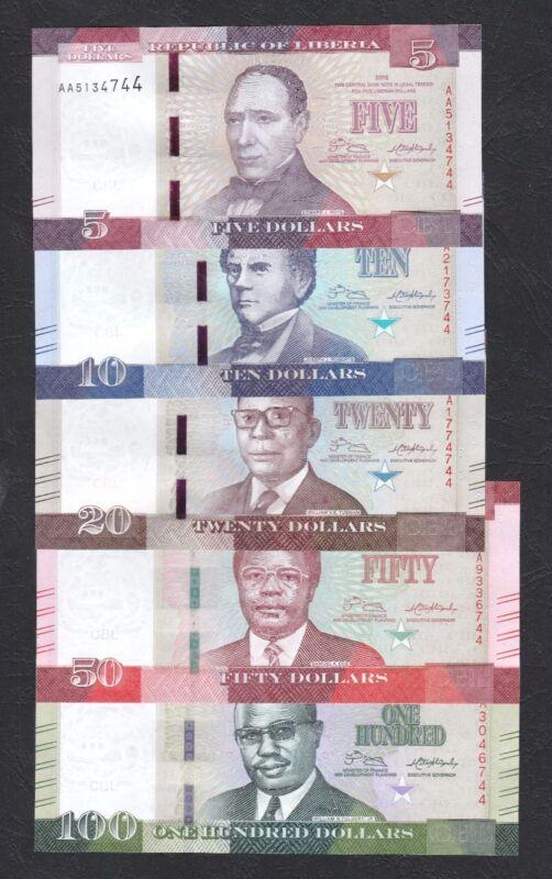 Set 5pcs Liberia 5 10 20 50 100 Dollars (2016) NEW UNC