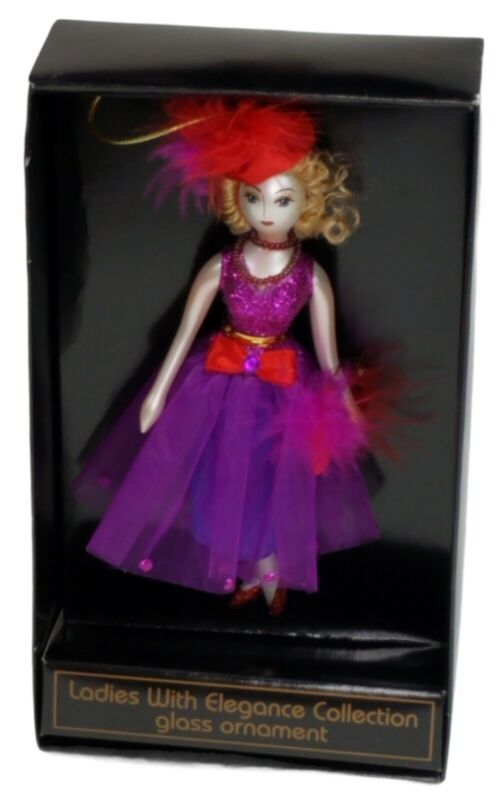 Ladies With Elegance Collection Glass Christmas Ornament Purple Dress