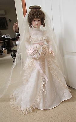 "Victorian Porcelain 21"" Bride Doll with Original Box - 1989"