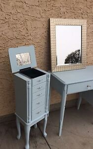 3 PIECE FRENCH STYLE DESK/ VANITY, JEWELRY CABINET - pending