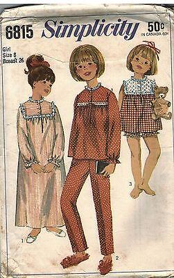 6815 Simplicity Vintage Näh Muster Mädchen Nachthemd Schlafanzug Hose Top Nähen (Vintage Mädchen Nachthemd)