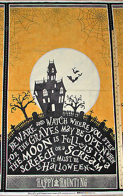 Jeepers Creepers Haunted House Pumpkin Halloween Fabric 23