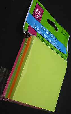 """STICKY NOTES ASSORTED NEON COLORS 3""""x3"""" 50 Sheets/Pad 4 Pads Total 200 Sheets, used for sale  Shipping to India"""