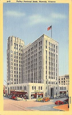Phoenix Arizona Valley National Bank 1940 Postcard
