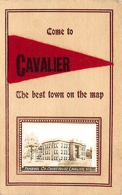 Cavalier Nd Felt Pennant  The Best Town On The Map Pembina Courthouse Rppc 1912
