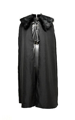 Game of Thrones Jon Snow Cosplay Kostüm Schwarz Umhang Weste Pelzkragen (Jon Snow Kostüm)