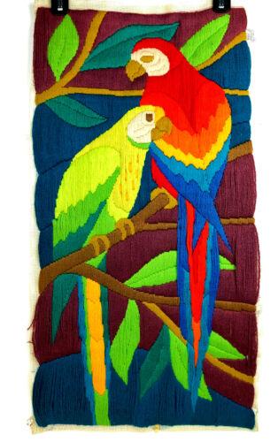 Vintage Crewel Embroidery Parrots Bird Finished LARGE 1980
