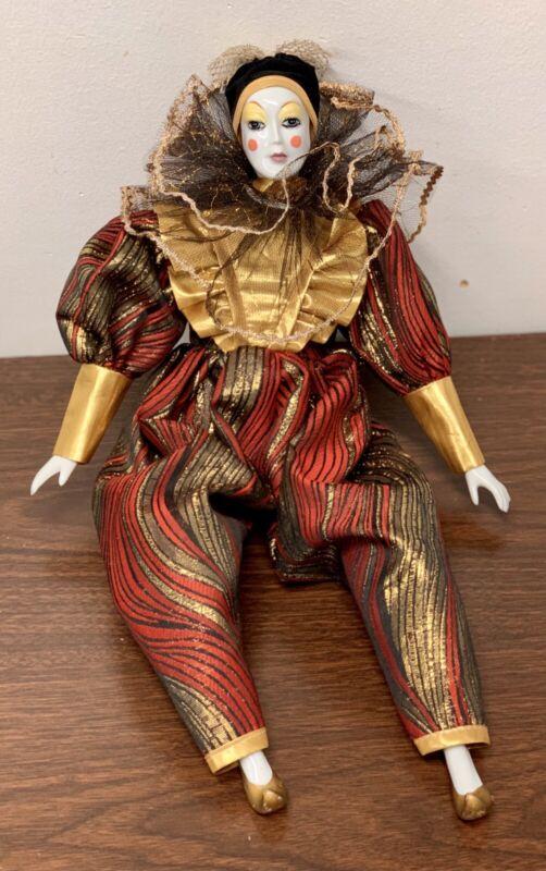 """Vintage jester Clown Porcelain doll Gold Lace 18"""""""
