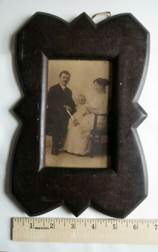 Art Antique Picture Carved Frame Solid Wood Victorian Photo Family Baby Unusual