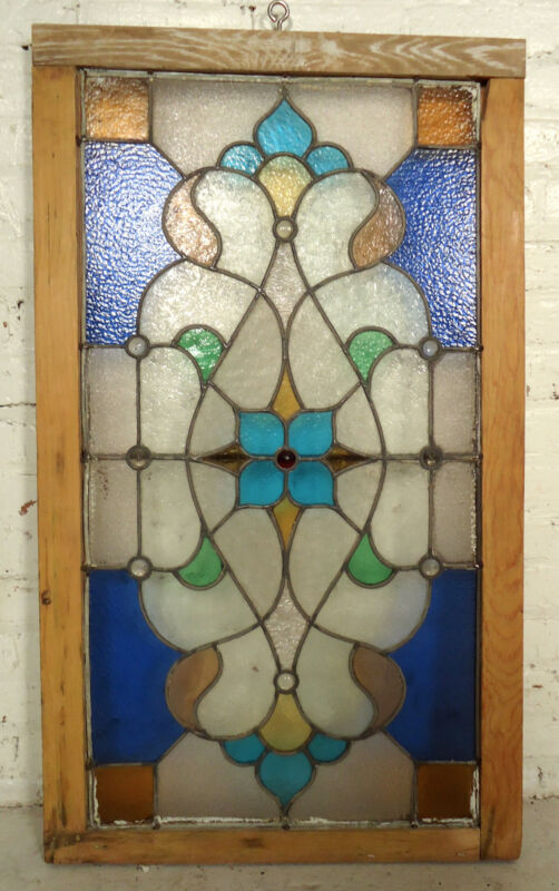 Antique Vintage Stained Glass Window (05554)NS