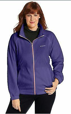 COLUMBIA Benton Springs Full Zip Fleece Jacket Women Plus 3X Nightshade/Coral567 ()
