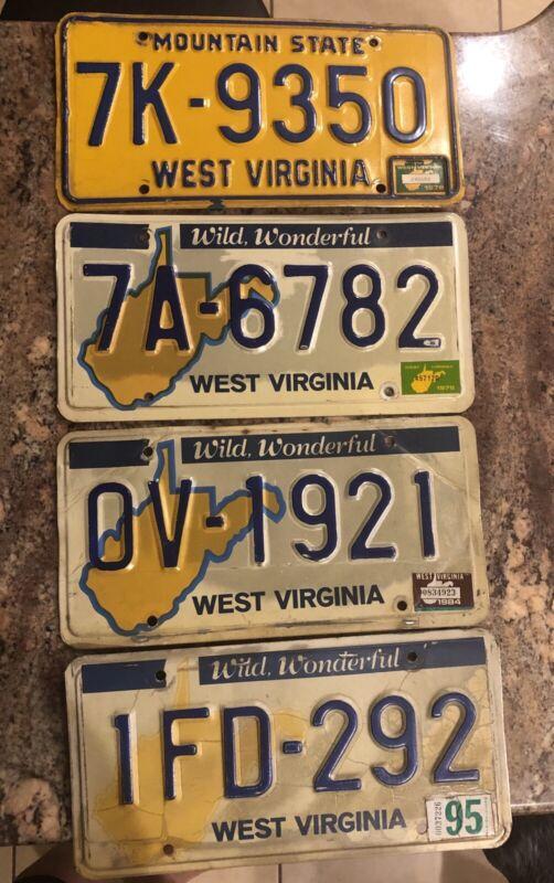 1976 1978 1984 1995 West Virginia Vintage License Tags
