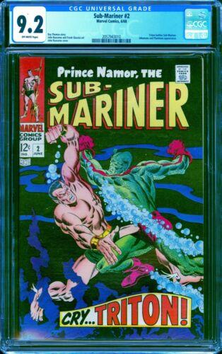 Sub-Mariner # 2 CGC 9.2 -- 1968 -- Triton Battle. Inhumans. Plantman #2057943010
