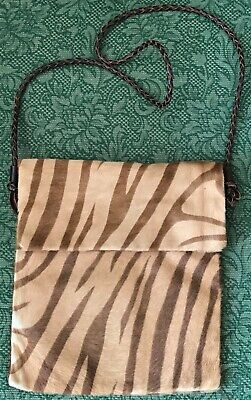 J & M DAVIDSON stylish tan ponyskin zebra print  pleated leather strap bag