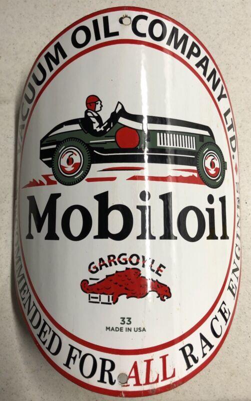 "VINTAGE 12"" DATED 1933 MOBILOIL VISIBLE PUMP PORCELAIN SIGN GAS & OIL"