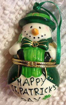 HAPPY ST.PATRICK'S DAY SNOWMAN  HINGED BOX ORNAMENT
