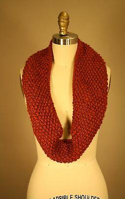 Handmade Orange Rust Knit Cowl Infinity Scarf