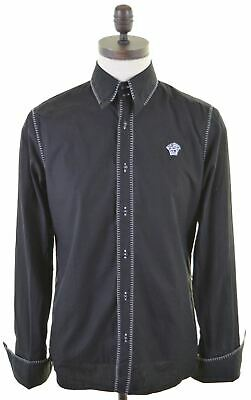 VERSACE Mens Shirt Small Black Cotton  DJ07