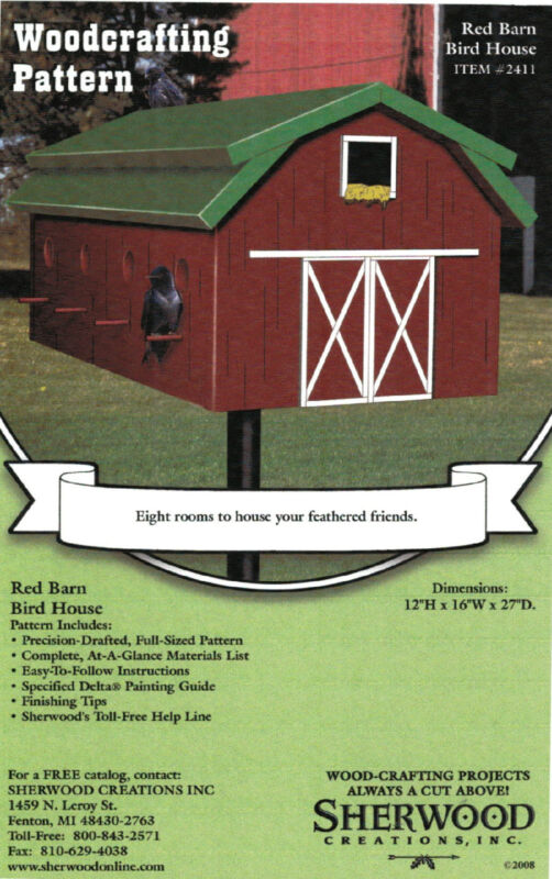 Red Barn Birdhouse Woodworking Plans by Sherwood Creations