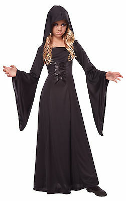 Deluxe Gothic Vampire Hooded Sorceress Robe Girls Child Costume