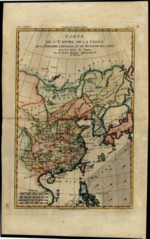 Empire of China Japan Korea Philippines 1780 Bonne hand colored map
