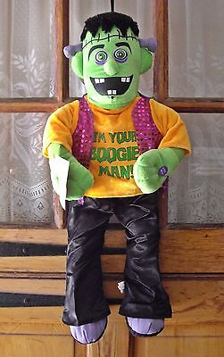 FRANKENSTEIN Motion Activated Musical HALLOWEEN DOOR HANGER Boogie Man Monster](Halloween Boogie Man)