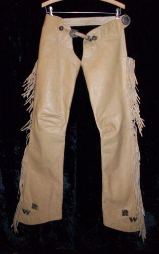 Vintage Tan Leather Fringe Western Cowboy CHAPS VOGT Sterling Silver Conchos WR