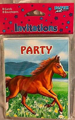 Horse Party Invitations (Horse Theme Invitations Birthday Party Gathering My Horse Farm Ranch 8)