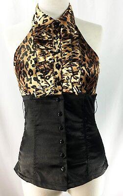 Leopard Animal Print Ruffled button up Blouse Peg Bundy Costume - Peg Bundy Halloween