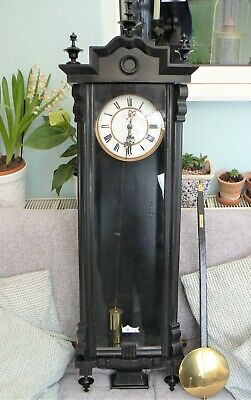 Ebonised Vienna Regulator Wall Clock - 45'' Tall - c. 1890