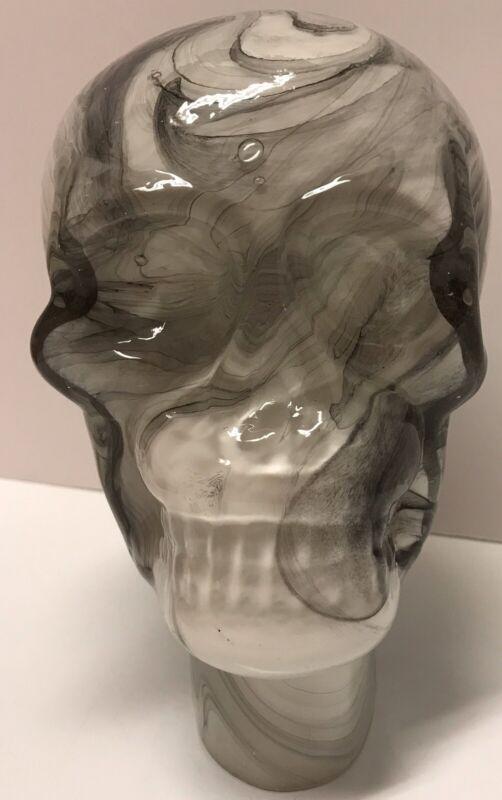 Pier 1 Imports Marble Glass Skull Head Skeleton Halloween