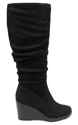 Soda Women Wedge Heel Slouchy Knee High Boots Side Zipper Black Faux Suede ENVY Black High Wedge