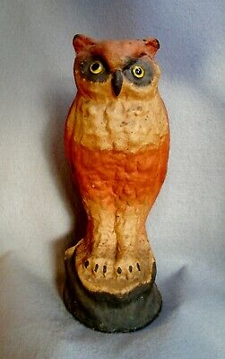 RARE LARGE VINTAGE HALLOWEEN PULP PAPER MACHE OWL CANDY CONTAINER-