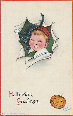 Cute Halloween Postcards (S21 1577 Vintage Brundage Halloween Postcard Cute Boy Black Cat c.)